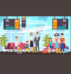 airport passengers waiting for flight flat vector image