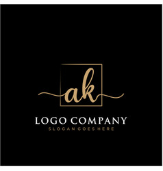 Ak initial handwriting logo with rectangle vector