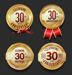 anniversary retro golden labels collection 30 vector image