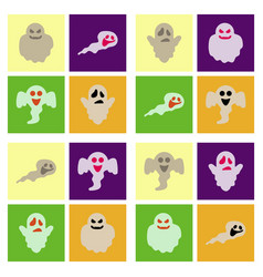 Assembly flat icons halloween ghost vector