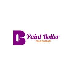 B paint roller logo design vector