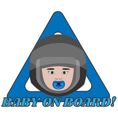 Baby on board triangle warning sign for vehicle vector