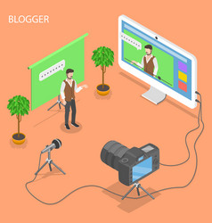 Blogger flat isometric concept vector