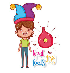 Boy wearing jester hat and whoopee bag vector
