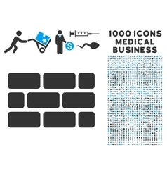 Brick Wall Icon with 1000 Medical Business Symbols vector image
