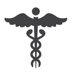 Caduceus glyph icon medicine and healthcare vector