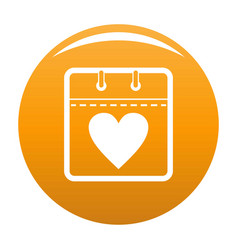 calendar valentine day icon orange vector image