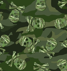 Camouflage skull in a seamless pattern vector image