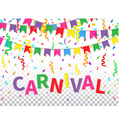 Carnival greeting card with colorful flags vector
