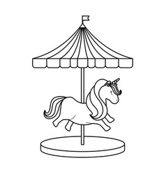 Carousel with cute unicorn isolated icon vector