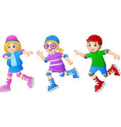 cartoon kid playing roller skates vector image