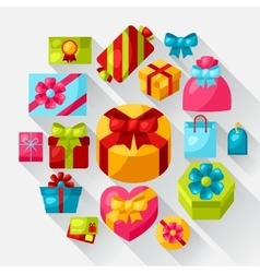 Celebration icon set of colorful gift boxes vector
