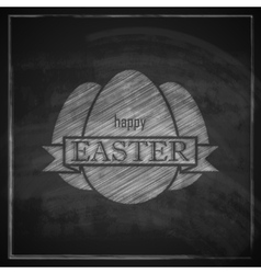 Chalk easter with eggs and ribbon on blackboard vector
