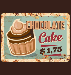 chocolate cake dessert metal rusty plate vector image