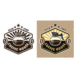 coffee house emblem badge label or logo vector image