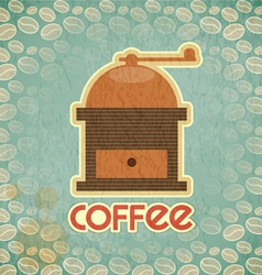 coffee mill on vintage background with coffee bean vector image