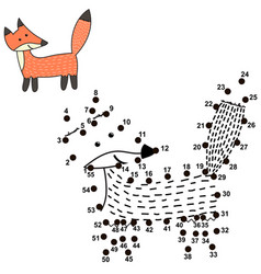 connect the dots and draw a cute fox vector image