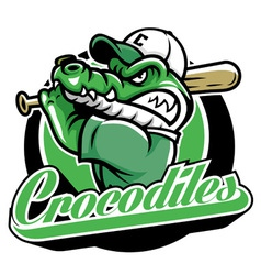 Crocodile baseball mascot vector