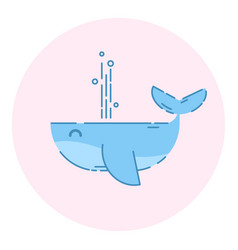 Cute whale logo outlined icon vector