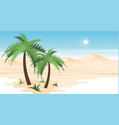 Desert landscape with palms vector