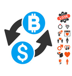 dollar bitcoin exchange icon with love bonus vector image vector image