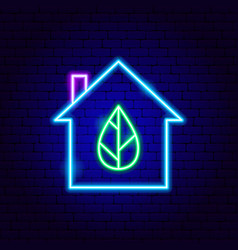 Eco house neon sign vector