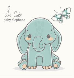 elephant with butterfly cute animal drawings vector image