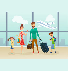 family at airport terminal with luggage and vector image