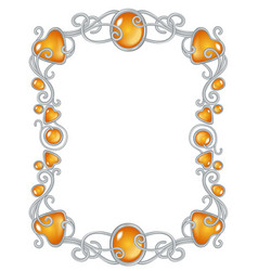 Fantasy jewel frame template silver and ember vector