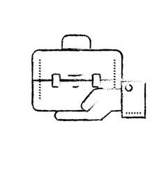 Figure businessman with briefcase portfolio in the vector