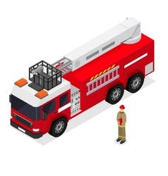 Fire Engine and Firefighter Isometric View vector