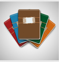 Five different colorful notebooks vector