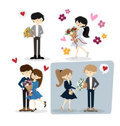flat happy loving couple with bouquet for vector image