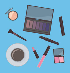Flat lay cosmetics accessories and cup coffee vector