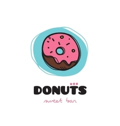 Funny doodle style donut logo Sketchy cafe vector