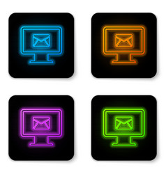 glowing neon computer monitor and envelope new vector image