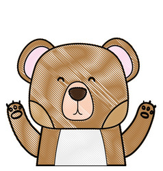 Grated adorable bear wild animal of the forest vector