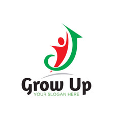 Grow up business success logo designs vector