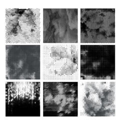 Grunge halftone background set Dots vector image