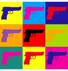 Gun sign Pop-art style icons set vector image