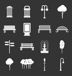 Hangar icons set grey vector