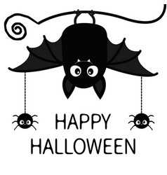 happy halloween bat spiders insect hanging cute vector image