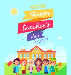 Happy teachers day ribboned vector