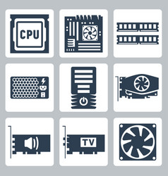 Hardware icons set cpu motherboard ram power unit vector