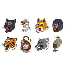 Head of wild animal predator puma wolf fox tiger vector