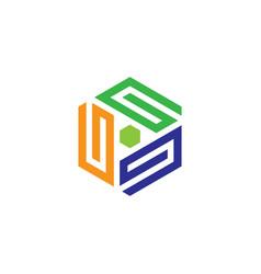 hexagon business logo vector image