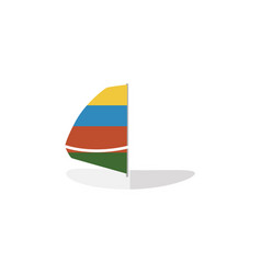 Isolated sailboard flat icon surfing vector