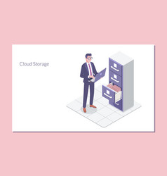 Isometric folder archive cloud storagelanding vector