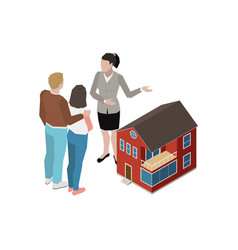 isometric real estate agent vector image