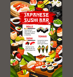 Japanese food cuisine and sushi bar meals menu vector